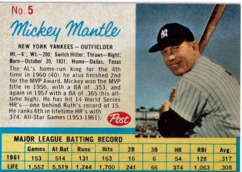 Mickey Mantle Baseball Cards Top 5 Mantles Card Value