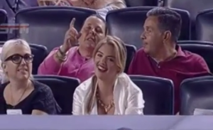 Kate Upton gets ball from Verlander reaction