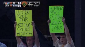Pence hot dog fork Mets signs