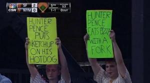 Pence hot dog fork Mets signs